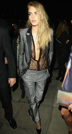 Cara Delevingne tuxedo suit lace blouse