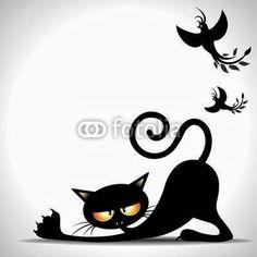Vettoriale: Gatto Nero Cartoon si Stira-Black Cat Stretching and Birds Black Cat Art, Black Cats, Cat Stretching, Cat Attack, Cat Silhouette, Cat Cards, Cat Drawing, Art Plastique, Art Techniques