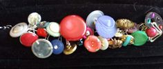 Button Bracelet with Vintage and New Colored Buttons