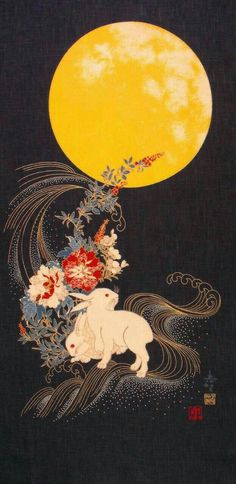 The sparkly looking stuff Moon: In Japanese folklore, the rabbit (usagi) resides on theFiller? The sparkly looking stuff Moon: In Japanese folklore, the rabbit (usagi) resides on the New Japanese cotton Noren quilting panel cloth bunny moon Inspiration Art, Art Inspo, Art And Illustration, Botanical Illustration, Folklore Japonais, Lapin Art, Art Chinois, Drawn Art, Art Asiatique