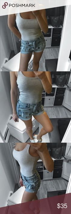 """Denim Shorts Adorable Light blue washed distressed denim bejeweled brooch embellished cuffed boho jean shorts.    ▪️MATERIAL: 98 / 2 Cotton Spandex ▪️DETAILS: light blue washed, distressed , bejeweled  ▫️Use  the """"Buy now """" or """"Add to Bundle"""" feature to purchase  ▫️Modeling  Size 27: I'm 5' 5"""" and 129 lbs  ( bust 34 