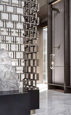 Lobby Interior, Interior Architecture, Screen Design, Wall Design, Office Cube, Hotel Door, Wall Bookshelves, Backdrop Design, Interior Decorating