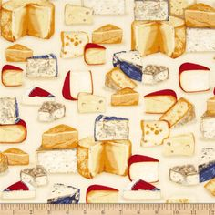 Robert Kaufman Kiss the Cook Cheeses Natural from @fabricdotcom  Designed by Mary Lake-Thompson for Robert Kaufman, this cotton print fabric is perfect for quilting, apparel and home decor accents. Colors include red, blue, cream, white, and grey.