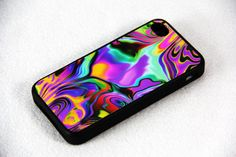 Art Abstract Color Mix iPhone 4 iPhone 4S Case, Rubber Material Full Protection and Hard Plastic Case