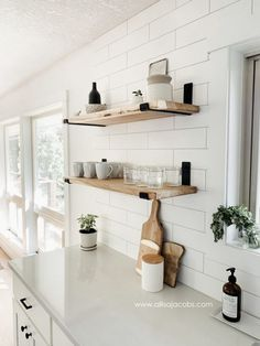 kitchen open shelving - a step by step guide detailing how to create wood shelve. kitchen open shelving - a step by step guide detailing how to create wood shelves with metal brackets Home Decor Kitchen, Kitchen Interior, Home Kitchens, Kitchen Ideas, Kitchen Modern, Kitchen Inspiration, Small Kitchens, Coastal Interior, Rustic Kitchen