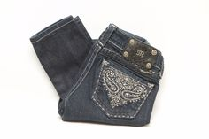 Miss Me Skinny Jeans with Silver Embroidery and Rhinestones Size 26 x 30