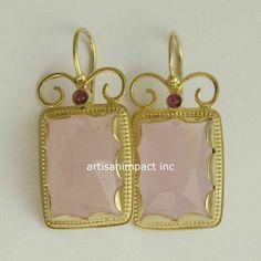 Gemstone earrings, 14K gold earrings, bridal rose quartz earring, garnet earrings, wedding earrings, drop earrings - Once upon a time EG8837 by artisanimpact on Etsy https://www.etsy.com/listing/114459469/gemstone-earrings-14k-gold-earrings