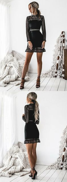 long sleeve black homecoming dresses,simple lace short party dress,fall outfits ,cheap prom dresses