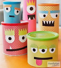 Simple Craft Projects for Kids Canned Hams: Conquer clutter with a clan of charming monster containers guaranteed to make you laugh. If you appreciate arts and crafts an individual will enjoy this website! Craft Projects For Kids, Easy Crafts For Kids, Diy For Kids, Kids Crafts, Arts And Crafts, Paper Crafts, Simple Crafts, Art Projects, Simple Diy