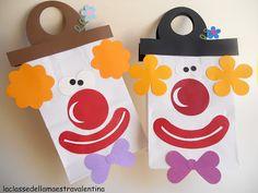 clowns gezicht op papieren boterhamzakje