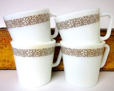 """This would actually make a great wrist tattoo pattern. (vintage 1970s """"Woodland Brown"""" Pyrex mugs by Corelle)"""