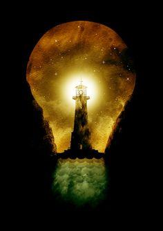 reach for the light Art Print by Steven Toang Light Bulb Art, Lighthouse Art, Gcse Art, Dark Art, Artsy Fartsy, Light In The Dark, Cool Art, Art Photography, Silhouette