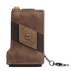 Team Zone Crazy Horse Leather 8-13 Credit Card ID Holder with Elasticity Money Clip Wallet Brown with RFID Blocking Technology