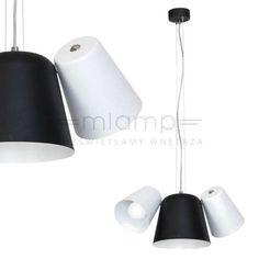 LAMPA wisząca ANDREA 593 Milagro metalowa OPRAWA zwis z regulowanymi kloszami biały czarny