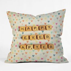 Happee Monkee Happy Ever After Throw Pillow #heart #print