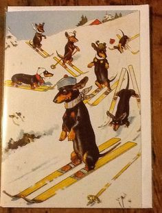 Skiing Dachshund Lovely Vintage Christmas Card by CrazyCatChap, £2.25