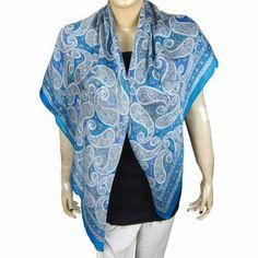 Foulard bleu motifs Paisley - Accessoire en crèpe de soie 109 x 109 cm ShalinIndia, http://www.amazon.fr/gp/product/B00661SL1W/ref=cm_sw_r_pi_alp_lzoerb12YFA7X