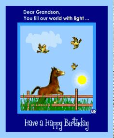 birthday wishes for grandchildren | Animated Horse and Birds Farm