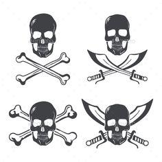 Pirate Flag Design Elements - Tattoos Vectors