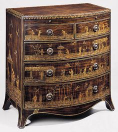hand-painted oriental chest with pull-out writing shelf