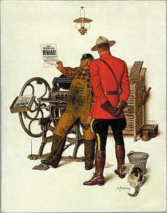 """""""Reward"""" by Arnold Friberg This is a great artist. I didn't know that he was commissioned to paint the Prince of Wales and Queen Elizabeth II Canada Day Crafts, Posters Canada, Hot Cops, Fur Trade, Epic Movie, Canadian History, Paper Artwork, Le Far West, Norman Rockwell"""