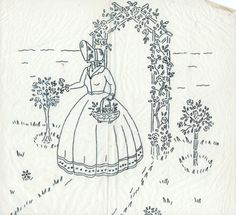 VINTAGE-EMBROIDERY-TRANSFER-CRINOLINE-LADY-IN-GARDEN