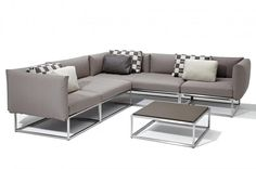 Cloud Modular Unit in taupe outdoor lounge upholstery.