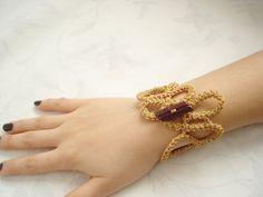 Golden Yellow crochet bracelet...Jewelry... by vyldanstyl on Etsy, $13.90