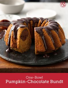 The surprise inside this pumpkin cake is a swirl of chocolate! To make cleanup easier, use your measuring cup to mix the chocolate into the batter so you don't have to wash another bowl.