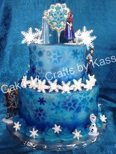 Disney Frozen theme cake. Airbrushed buttercream cake. #fondx fondant snowflakes, chocolate lollipop topper                                  https://www.facebook.com/KassCrafts