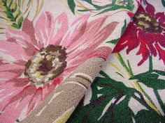 Vintage 40s Barkcloth Drapes  Pink Red by FabulousTextiles on Etsy, $110.00