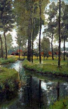"Frank Bramley - ""Borgerhout Anvers"" oil on canvas"