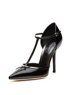 Patent Leather T-Strap Pointed-Toe Pump from Shoes on Gilt