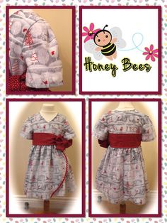 This is my favourite - can't wait to see my little honey bee in this for Christmas Day - fab with red tights and fabbie patent shoes xxx Available in Ages 1-8 - Made to order in your choice of fabric    Find me at www.facebook.com/honeybeesboutiqueUK