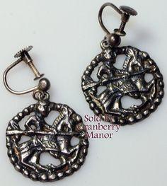 759431e78 David Andersen Norway Sterling Silver Cutwork Viking Period Earrings Vintage  1970s Designer Fashion Jewelry Gift