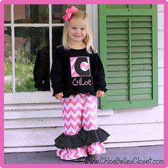 Etsy Transaction - Pink Chevron Initial Double Ruffle Pant Set