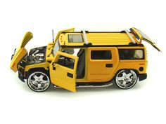Jada Toys 1/24 Scale Big Time Kustoms Hummer H2 SUV Truck Yellow Diecast Car Model 53549 - Diecast Auto World