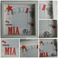 Welcome little Mia - Stempelklecks - Kinder - Baby Diy Baby Nursery Diy, Baby Room Diy, Nursery Room Decor, Frame Crafts, Crafts To Do, Crafts For Kids, Paper Crafts, Baby Room Colors, Diy Bebe