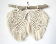 Angel Wings Pattern/Tutorial   Etsy Crochet Craft Fair, Angel Wings Wall, Handmade Angels, Heart Frame, Macrame Tutorial, Macrame Patterns, Diy Christmas Ornaments, Etsy, Wall Art