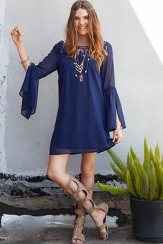 Midnight Blue Lace Bell Sleeve Dress