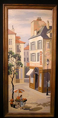 Group of 3 Scarce Paint by Number PBN Paris Tyiptych/Gorgeous color and condition/Mid Century Art/1950's Art Framed Nice!
