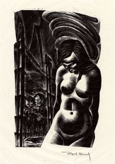 Figure Original illustration fromage Song Without Words by Lynd Ward World Library, Scenic Design, Wood Engraving, Glass Ornaments, Printmaking, Illustrations, Statue, Fine Art, Drawings