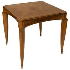 French Art Deco Square Mahogany and Parquetry Game Table by Pascaud