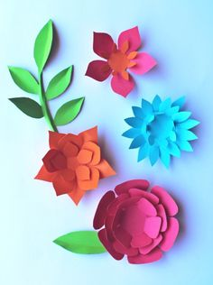 DIY paper flowers pattern templates, paper feathers + paper leaves!