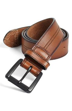 Johnston & Murphy Leather Belt available at #Nordstrom #TanBlack #WorkingDad