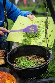 Camping brunch, Indian spiced mushrooms (to go with eggy bread). Photo copyright Jason Ingram