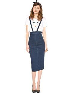 Denim Suspender Pencil Skirt- $48