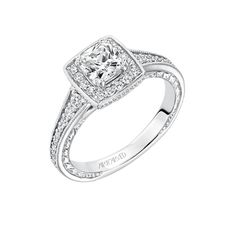 Artcarved Bridal: MILLICENT, #31-V630, vintage inspired cushion cut halo with diamond engagement ring with hand engraving and milgrain details #ArtCarvedBridal