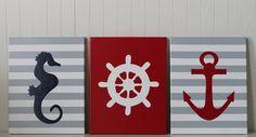 Nautical Nursery Decor Seahorse Nursery Ship's Wheel Anchor Navy Red Gray Nursery Baby Nautical Decor Painting Nautical Bathroom