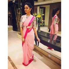 buy online Baby pink colour designer heavy party wear fancy fabric saree with banglori designer blouse at joshindia Blouse Back Neck Designs, Fancy Blouse Designs, Bridal Blouse Designs, Choli Designs, Mehndi Designs, Saree Jacket Designs, Silk Saree Blouse Designs, Stylish Blouse Design, Designer Blouse Patterns